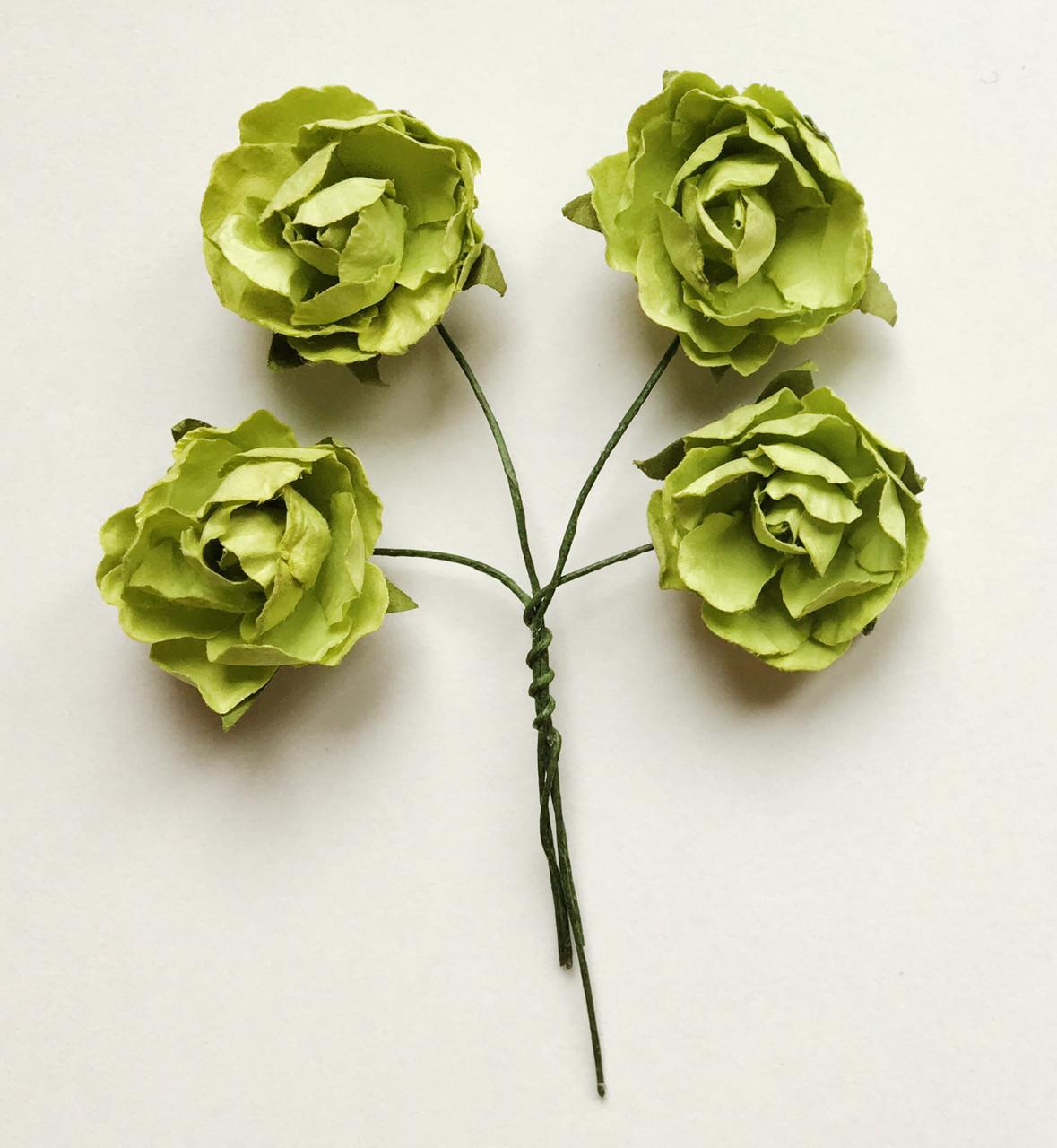 Троянди з паперу фісташкові 3 см 4 шт