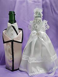 Одежда на свадебное шампанское, украшение на шампанское