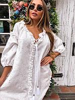 Платье Doratti красивое нежное прошва свободный крой мини Smdor3665, фото 1