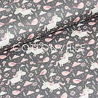 Хлопковая ткань Единороги с птичками графит, фото 1