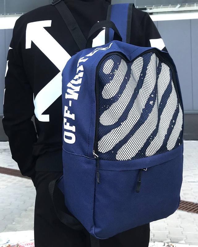 Школьный Рюкзак Off White синего цвета фото