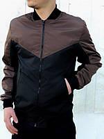 Бомбер мужской черно-коричневый / куртка осенняя весенняя