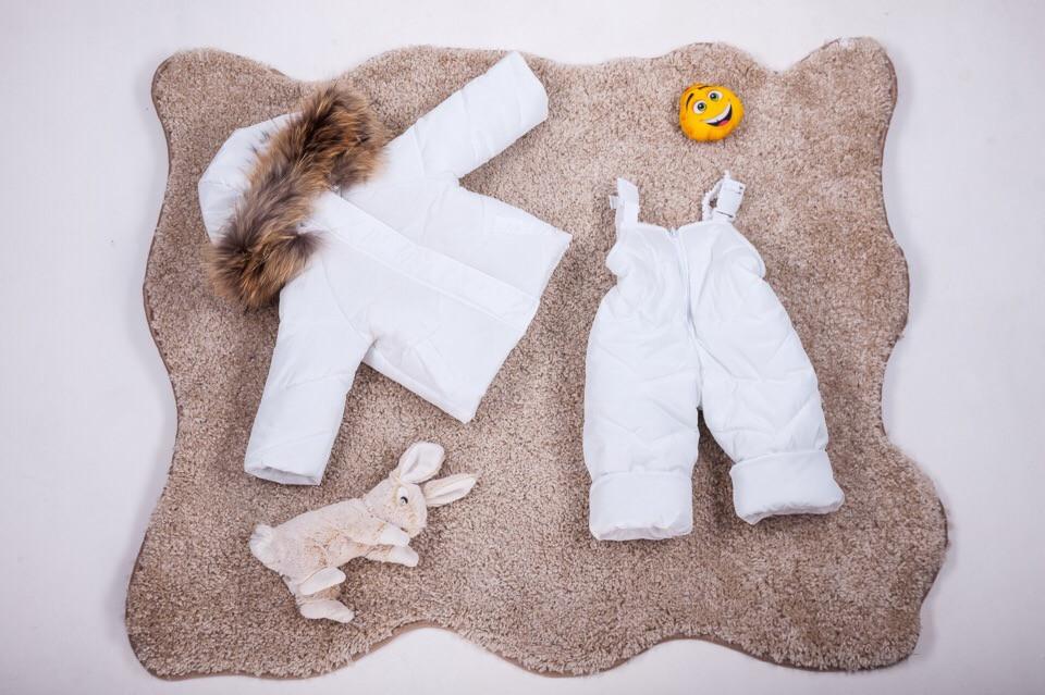 Детский зимний костюм куртка и полукомбинезон с натуральным мехом