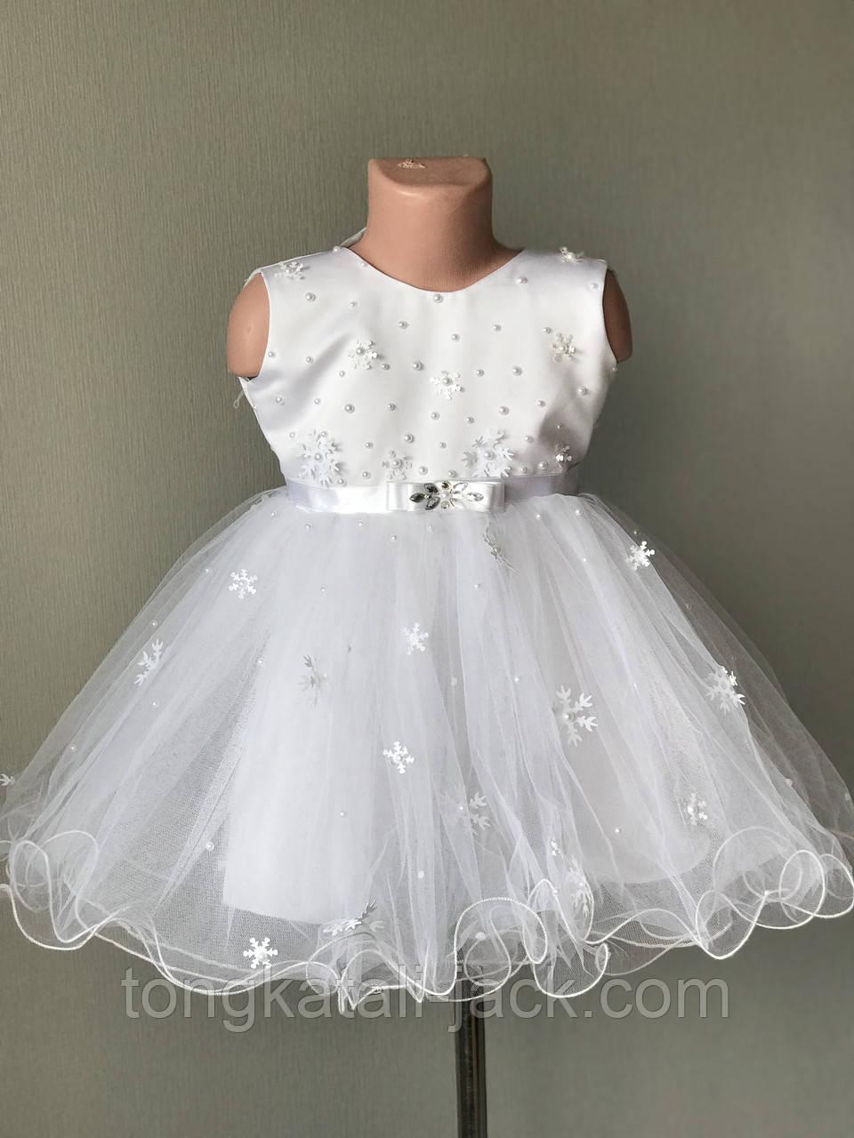 Платье снежинки размер 92-104 см, прокат карнавальной одежды