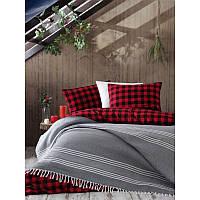 Плед покрывало хлопковое Eponj Home - Anna 220*240 черно-серый