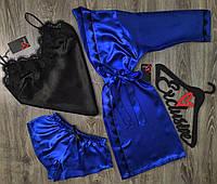 Ярко-синий комплект домашней одежды халат+пижама(майка и шорты).