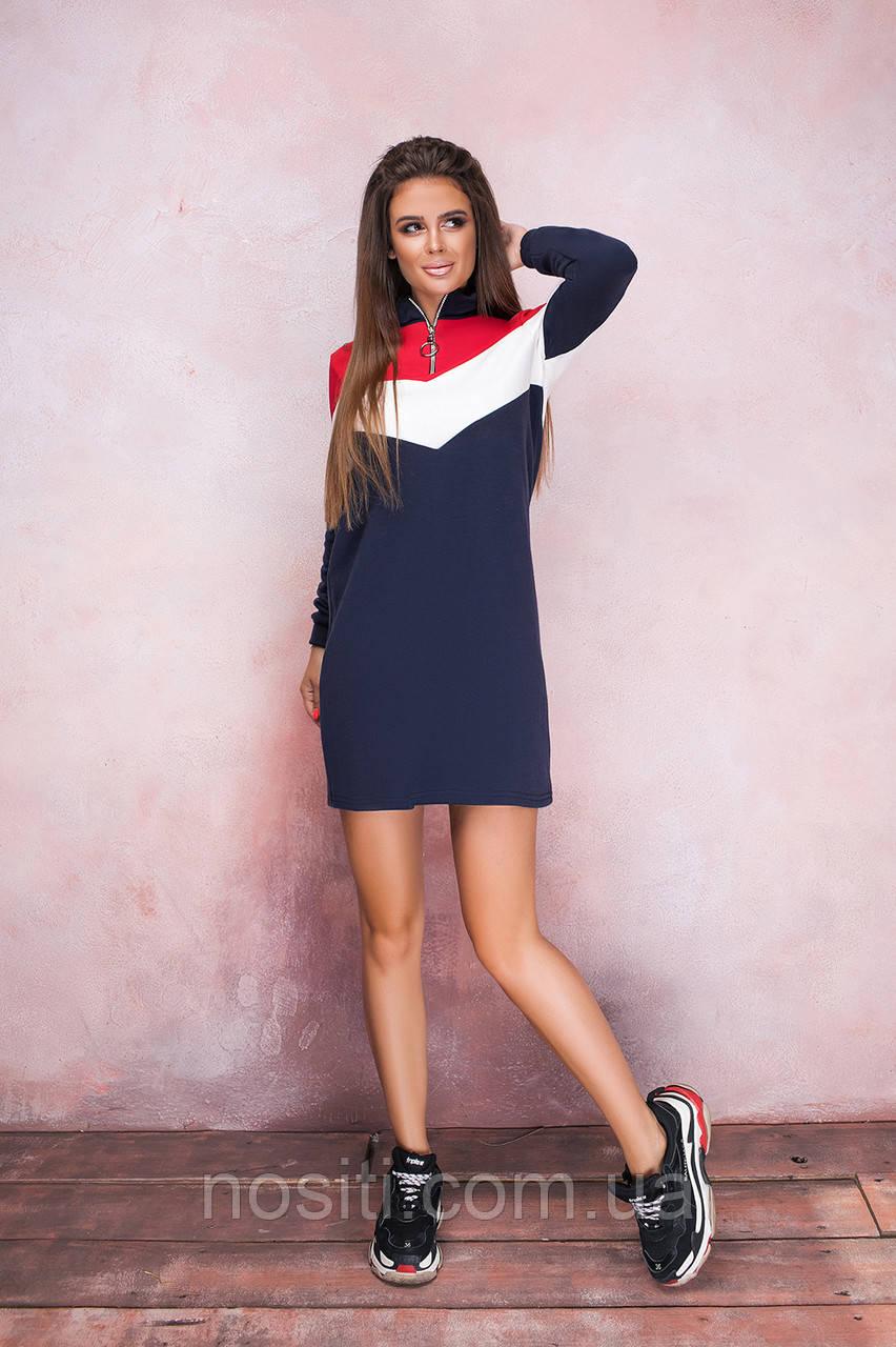 Платье-туника батал с длинным рукавом