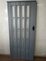Дверь гармошка полуостекленная 860х2030х12мм  серая 915 доставка по Украине