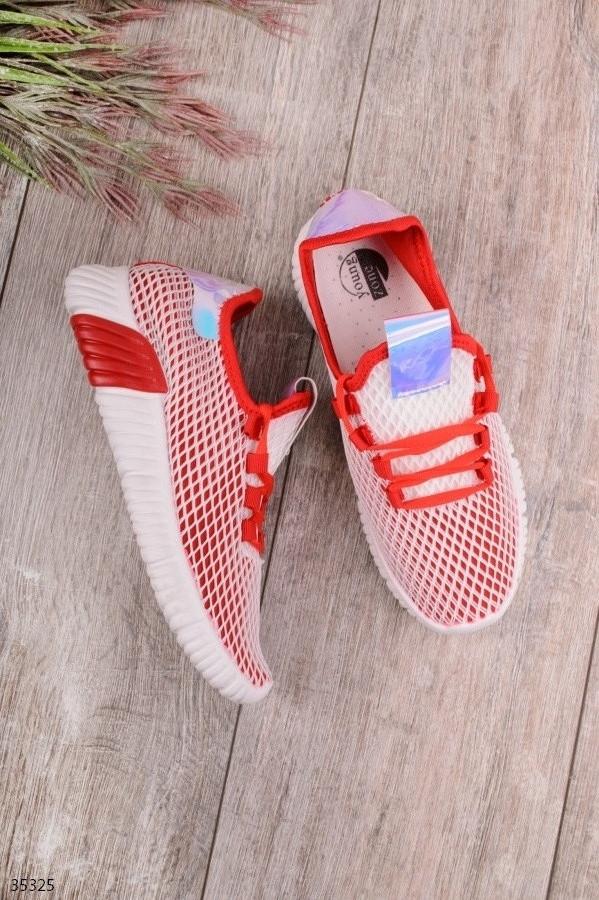 Женские кроссовки красные с белым текстиль