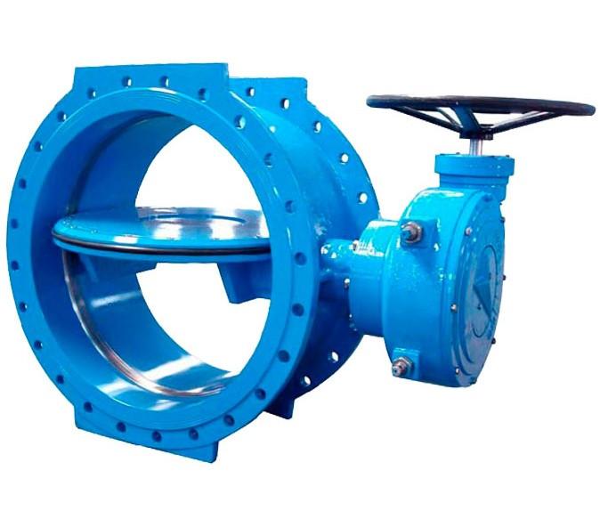 Затвор поворотний дисковий c ексцентриситетом, чавунний, фланцевий з редуктором Ду900 Ру10 Серія 24А, СМО