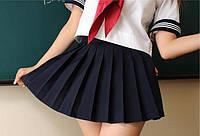 Юбка школьная мини темно синего цвета плесировка 3541
