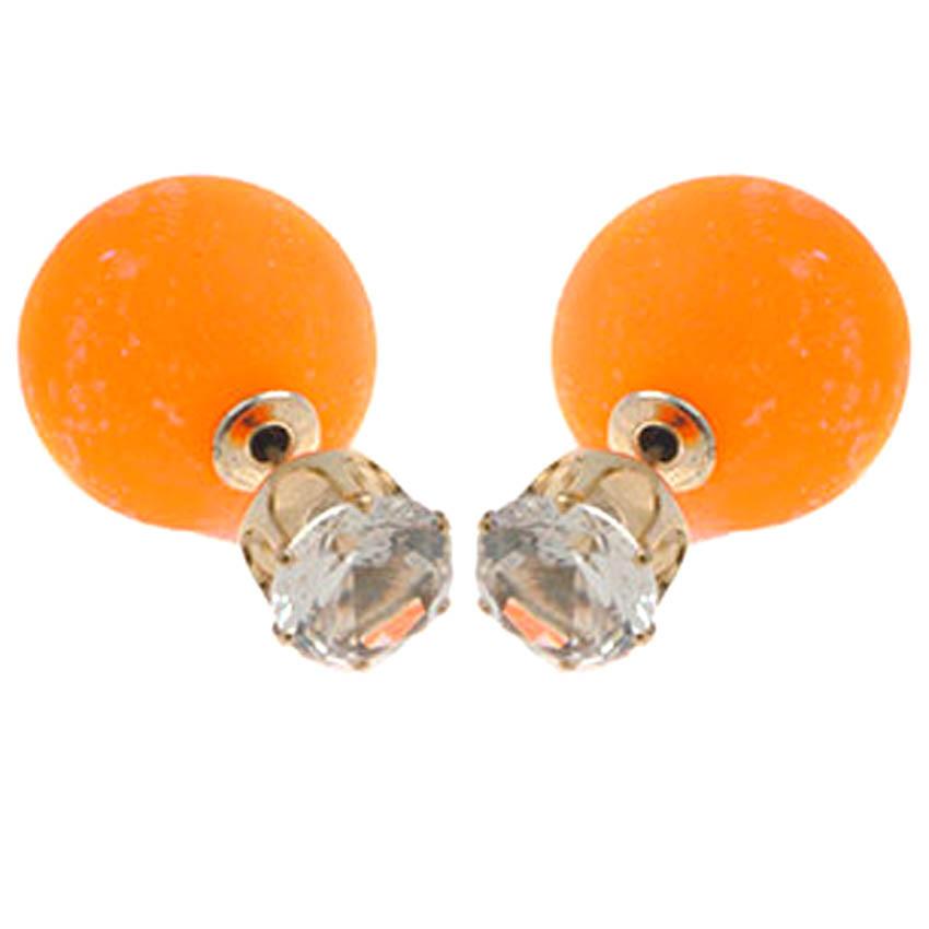Серьги пуссеты оранжевые  с камнями