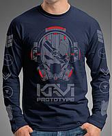"""0004-LS-NY  Мужская футболка-лонгслив """"PROTOTYPE"""" (Испания). Темно-синяя"""