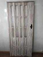 Дверь гармошка полуостекленная 860х2030х12мм  бамбук 910 доставка по Украине