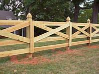 Деревянный забор крестообразный масивный LNK