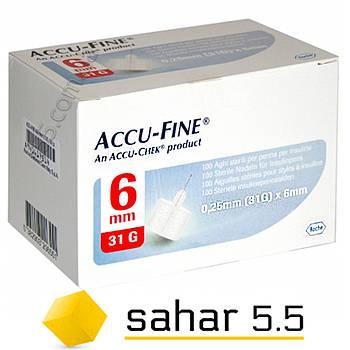 Иглы инсулиновые Акку-Файн 6мм-31G, 100шт. - Accu-Fine