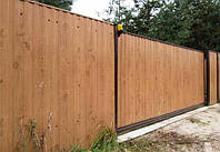 Деревянный забор вертикальный цельный LNK