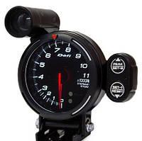Указатель тахометр стрелочный DEFI 7518 WH с отсечкой черный в корпусе Ø95мм прибор датчик на автомобиль