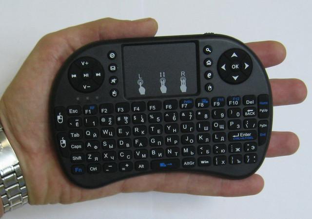 Беспроводная мини клавиатура USB с тачпадом на аккумуляторе