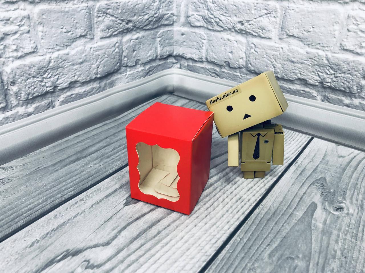 Коробка / Бонбоньерка / 60х60х75 мм / печать-Красн / окно-обычн