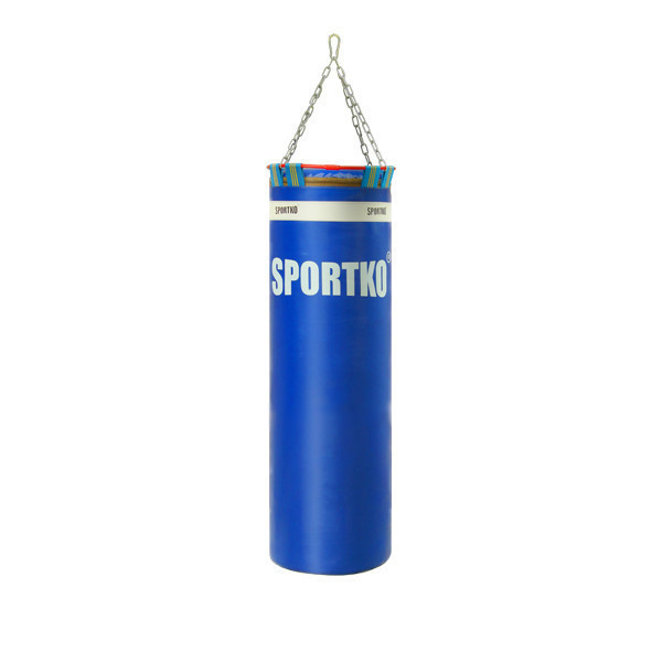 Боксерский мешок SPORTKO Элит с цепями арт.МП-22 синий ( вес 40 кг. размер 110х35 см.)