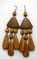 Серьги деревянные светлые с полоской