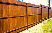 Деревянный забор с металлическими лагами LNK