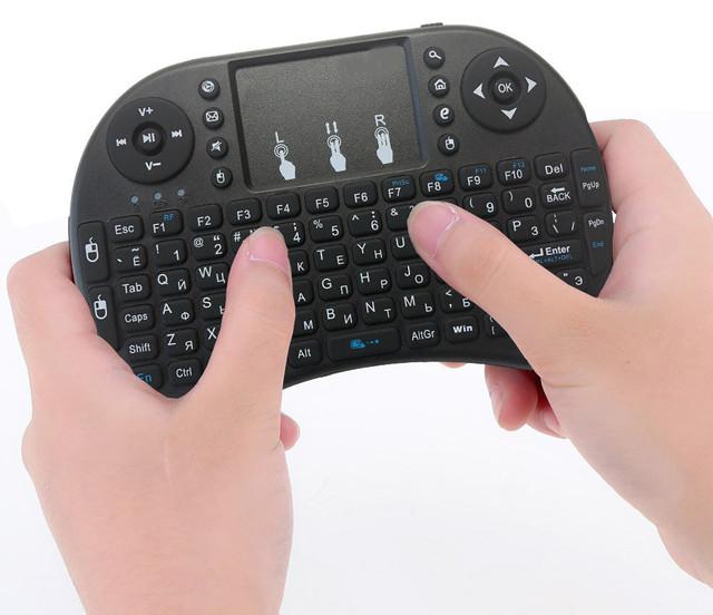 Беспроводная мини клавиатура USB с тачпадом и подсветкой на аккумуляторе