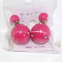 Серьги пуссеты с мелкими камнями  розовые