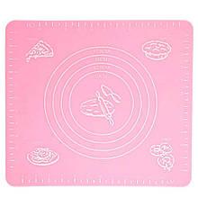 Силиконовый антипригарный коврик для выпечки и раскатки теста 50x40 см 2Life Розовый (n-326)