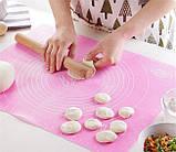 Силиконовый антипригарный коврик для выпечки и раскатки теста 50x40 см 2Life Розовый (n-326), фото 4