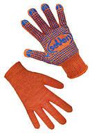 Перчатки трикотажные оранжевые с ПВХ точкой (2 нитки, 10 клас)