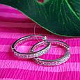 Серебряные родированные серьги-кольца с фианитами - Серьги кольца-конго серебро- Серьги-конго с камнями  22 мм, фото 3