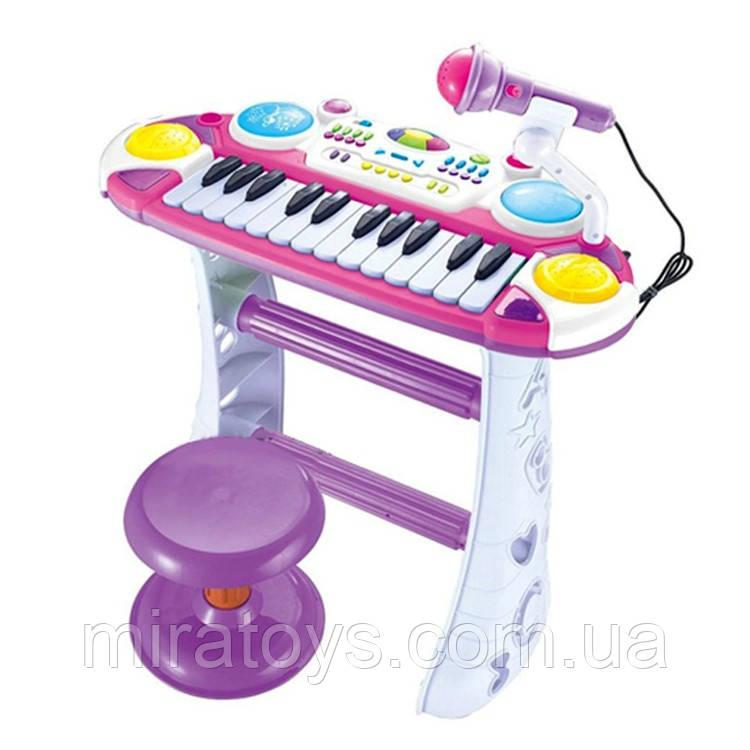 ✅Детское пианино-синтезатор 7235 на ножках со стульчиком (Розовое)