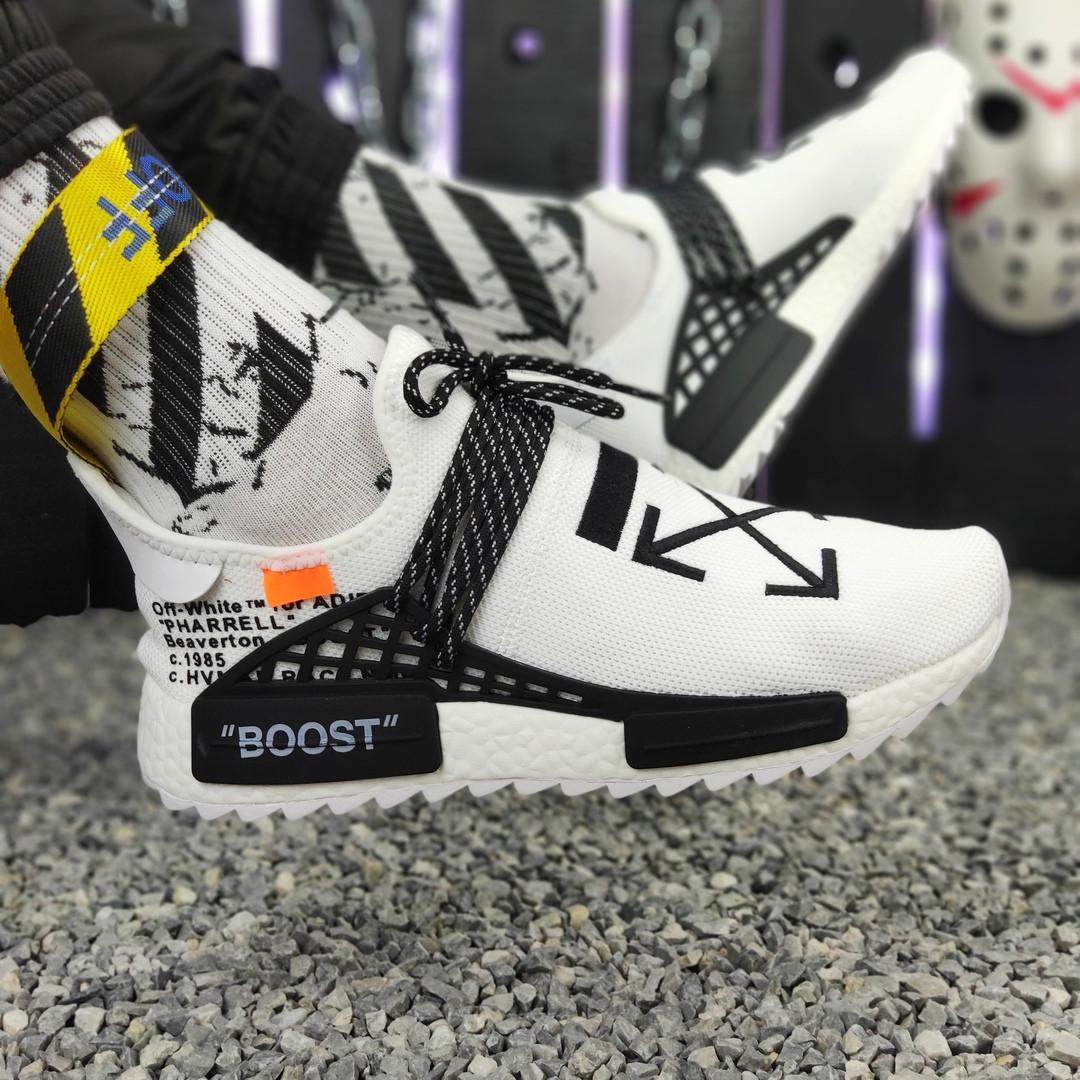 size 40 7b694 b23ac Мужские кроссовки Off-White x Adidas Nmd Hu Pharrell Human Race White  (адидас нмд офф вайт, белые) дышащие - Bigl.ua