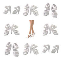Белые босоножки на каблуке, обувь для куклы Барби