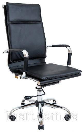 Кресло Гаваи Хром  Кожзам Черный