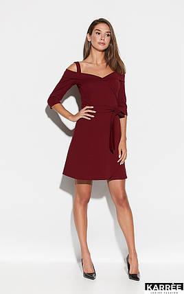 Коктейльное платье на бретельках выше колен юбка полусолнце цвет марсала, фото 2