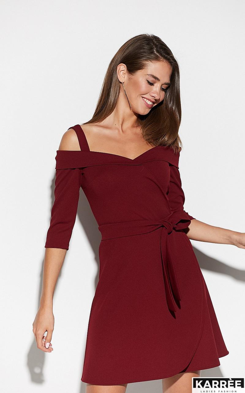 Коктейльное платье на бретельках выше колен юбка полусолнце цвет марсала