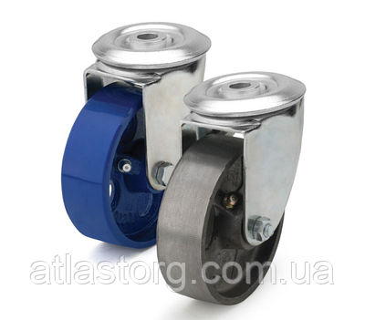 Колеса термостійкі з чавуну діаметр 80 мм з поворотним кронштейном з отвором