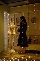 ✅Декоративная Светодиодная Гирлянда Занавес Штора ЛЕД Белая Теплая 3х3м 300LED От USB 8 Режимов С Пультом ДУ, фото 2