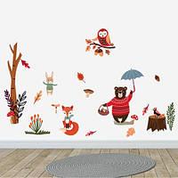 Интерьерная виниловая наклейка в детскую Осенний лес (наборы детских стикеров медведь сова лиса осень) матовая , фото 1