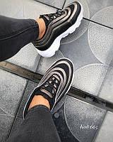 Кроссовки черные с полосами никель еко-кожа