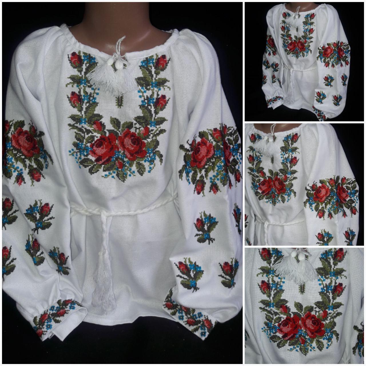"""Национальная вышиванка """"Роксоланка"""" для девочки, домотканка, 6-12 лет, 540/440 (цена за 1 шт. + 100 гр.)"""