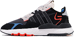 Мужские кроссовки Adidas Nite Jogger Boost Black White Blue EF8719, Адидас Найт Джогер