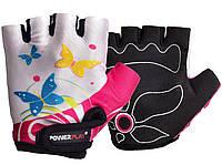 Перчатки детские для фитнеса, велоперчатки Power Play без пальцев БАБОЧКИ р. 2XS