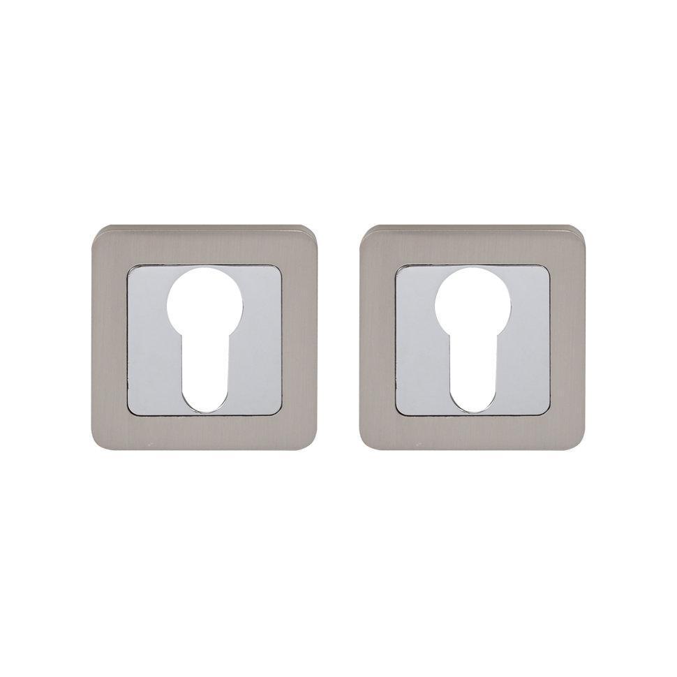 Накладка под цилиндр COMIT Moderno хром/ сатин никель (Китай)