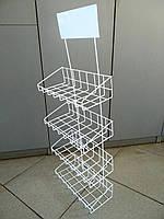 Настенная полка (стенд) из проволоки для товаров в упаковке 830х330 мм, фото 1