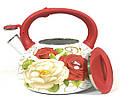 Эмалированный чайник со свистком Hoffner 4933 Rose flowers 3,3 литра, фото 3