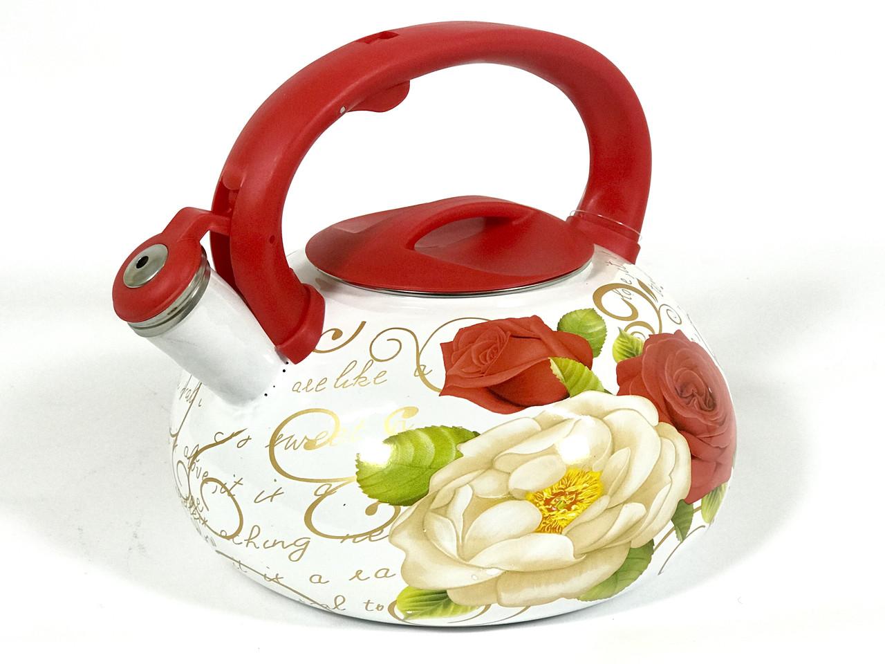 Эмалированный чайник со свистком Hoffner 4933 Rose flowers 3,3 литра